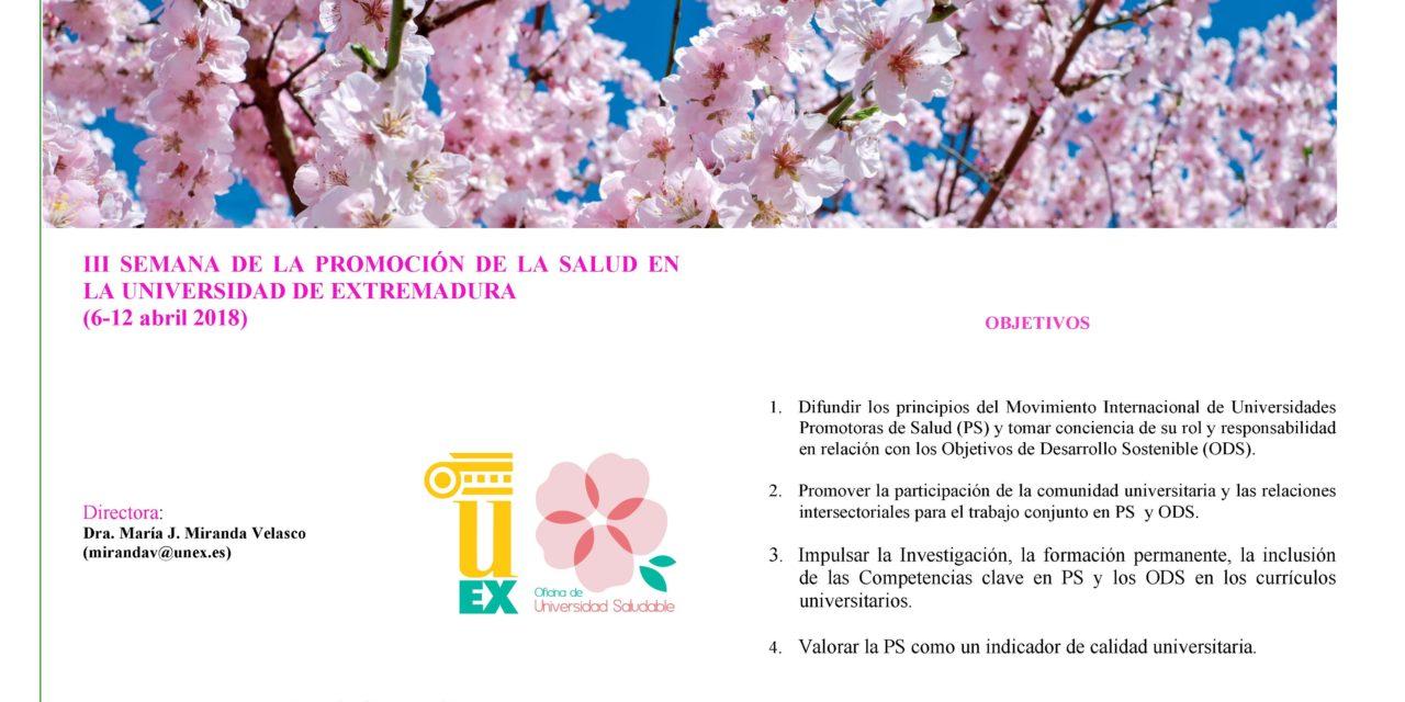 III SEMANA DE LA PROMOCIÓN DE LA SALUD EN LA UNIVERSIDAD DE EXTREMADURA