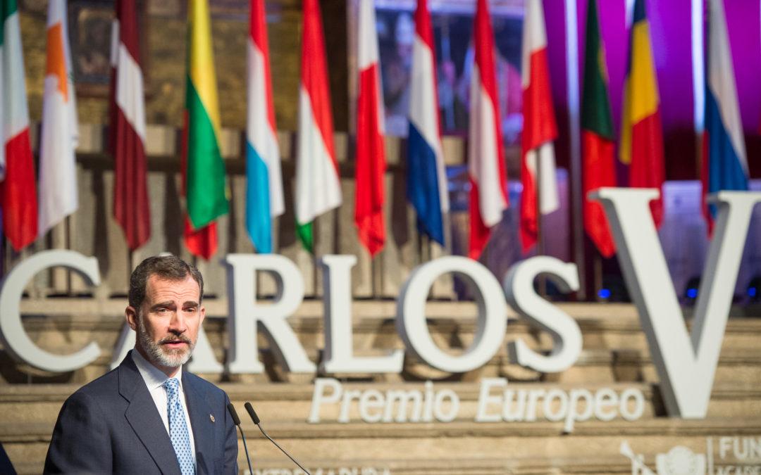 Felipe VI preside la ceremonia de entrega del Premio Europeo Carlos V a los Itinerarios Culturales del Consejo de Europa