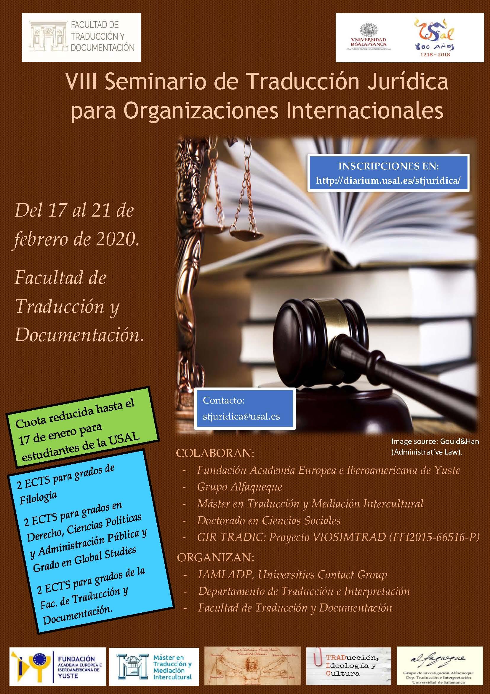 Resultado de imagen de seminario traduccion juridica usal