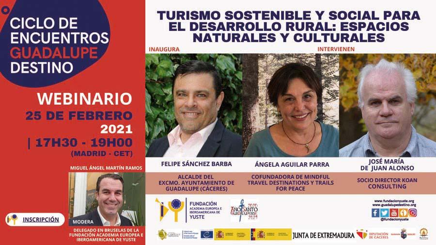 La Fundación Yuste organiza un seminario web sobre turismo sostenible y social para el desarrollo rural de espacios naturales y culturales